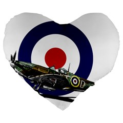 Spitfire And Roundel 19  Premium Flano Heart Shape Cushion by TheManCave