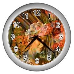 Autumn Wall Clock (silver) by icarusismartdesigns
