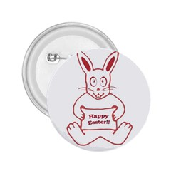 Cute Bunny Happy Easter Drawing I 2 25  Button by dflcprints