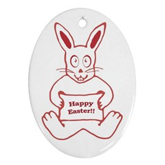 Cute Bunny Happy Easter Drawing I Oval Ornament by dflcprints
