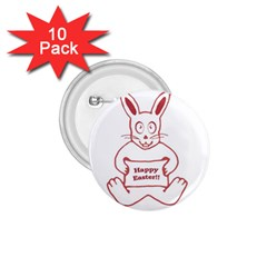 Cute Bunny Happy Easter Drawing I 1 75  Button (10 Pack)