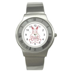 Cute Bunny Happy Easter Drawing I Stainless Steel Watch (slim) by dflcprints