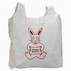Cute Bunny Happy Easter Drawing i White Reusable Bag (Two Sides) by dflcprints