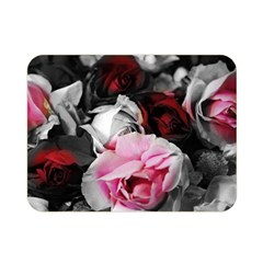 Black And White Roses Double Sided Flano Blanket (mini) by bloomingvinedesign