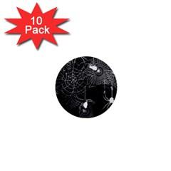Black And White Spider Webs 1  Mini Button (10 Pack) by bloomingvinedesign