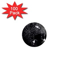 Black And White Spider Webs 1  Mini Button Magnet (100 Pack) by bloomingvinedesign