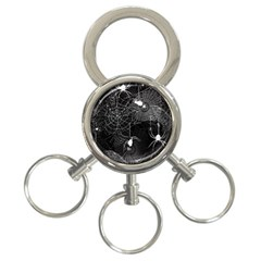 Black And White Spider Webs 3 Ring Key Chain by bloomingvinedesign