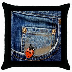 Blue Jean Lady Bug Black Throw Pillow Case by TheWowFactor