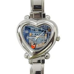 Blue Jean Lady Bug Heart Italian Charm Watch  by TheWowFactor