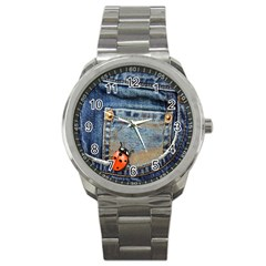 Blue Jean Lady Bug Sport Metal Watch by TheWowFactor