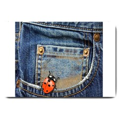 Blue Jean Lady Bug Large Door Mat by TheWowFactor