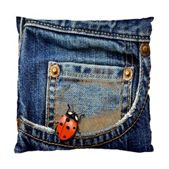 Blue Jean Lady Bug Cushion Case (single Sided)  by TheWowFactor