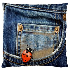 Blue Jean Lady Bug Large Cushion Case (single Sided)  by TheWowFactor