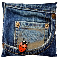 Blue Jean Lady Bug Standard Flano Cushion Case (one Side) by TheWowFactor