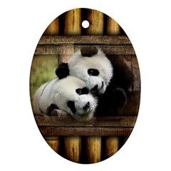 Panda Love Oval Ornament by TheWowFactor