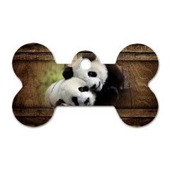 Panda Love Dog Tag Bone (one Sided) by TheWowFactor