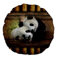 Panda Love 18  Premium Round Cushion  by TheWowFactor
