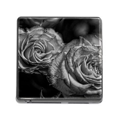 Black And White Tea Roses Memory Card Reader With Storage (square) by bloomingvinedesign