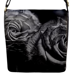 Black and White Tea Roses Flap Closure Messenger Bag (Small) by bloomingvinedesign