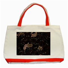 Black Cats Yellow Eyes Classic Tote Bag (red) by bloomingvinedesign