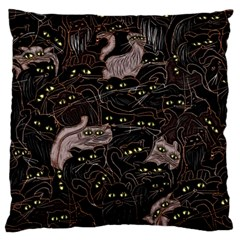 Black Cats Yellow Eyes Large Flano Cushion Case (two Sides) by bloomingvinedesign