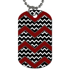 Black White Red Chevrons Dog Tag (two Sided)  by bloomingvinedesign