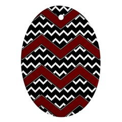 Black White Red Chevrons Oval Ornament (two Sides) by bloomingvinedesign