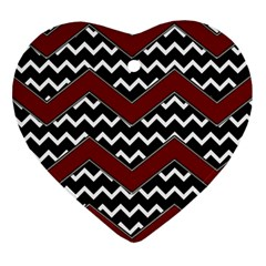 Black White Red Chevrons Heart Ornament (two Sides) by bloomingvinedesign