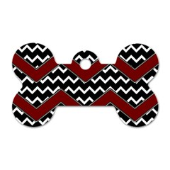 Black White Red Chevrons Dog Tag Bone (two Sided) by bloomingvinedesign