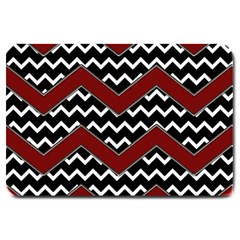 Black White Red Chevrons Large Door Mat by bloomingvinedesign