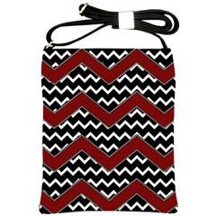 Black White Red Chevrons Shoulder Sling Bag by bloomingvinedesign