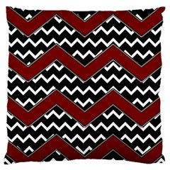 Black White Red Chevrons Large Cushion Case (two Sided)