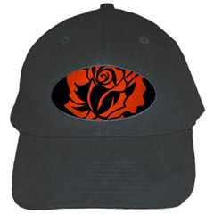 Red Rose Etching On Black Black Baseball Cap by StuffOrSomething
