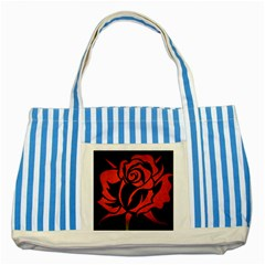 Red Rose Etching On Black Blue Striped Tote Bag by StuffOrSomething