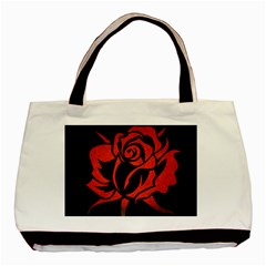 Red Rose Etching On Black Twin Sided Black Tote Bag by StuffOrSomething