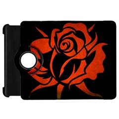 Red Rose Etching On Black Kindle Fire Hd Flip 360 Case