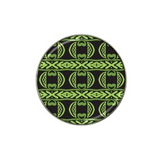 Green Shapes On A Black Background Pattern Hat Clip Ball Marker by LalyLauraFLM