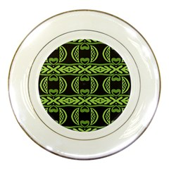 Green Shapes On A Black Background Pattern Porcelain Plate by LalyLauraFLM