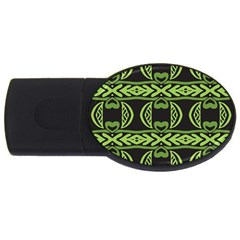 Green Shapes On A Black Background Pattern Usb Flash Drive Oval (4 Gb)