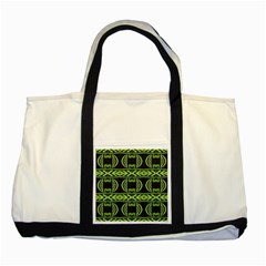 Green Shapes On A Black Background Pattern Two Tone Tote Bag