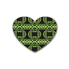 Green Shapes On A Black Background Pattern Rubber Coaster (heart) by LalyLauraFLM