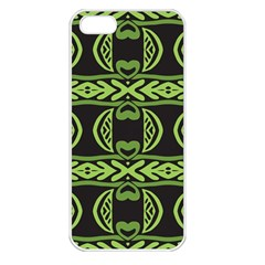 Green Shapes On A Black Background Pattern Apple Iphone 5 Seamless Case (white) by LalyLauraFLM