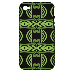 Green Shapes On A Black Background Pattern Apple Iphone 4/4s Hardshell Case (pc+silicone) by LalyLauraFLM