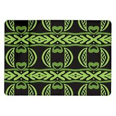 Green shapes on a black background pattern Samsung Galaxy Tab 10.1  P7500 Flip Case by LalyLauraFLM