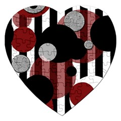 Black White Red Stripes Dots Jigsaw Puzzle (heart) by bloomingvinedesign