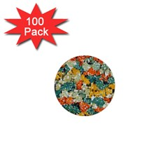 Paint Strokes In Retro Colors 1  Mini Button (100 Pack)  by LalyLauraFLM