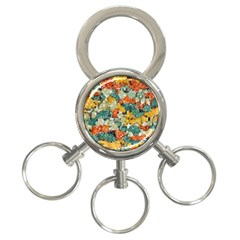 Paint Strokes In Retro Colors 3 Ring Key Chain by LalyLauraFLM