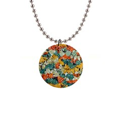 Paint Strokes In Retro Colors 1  Button Necklace by LalyLauraFLM
