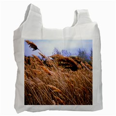 Blowing prairie Grass White Reusable Bag (Two Sides) by bloomingvinedesign