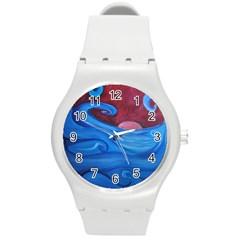 Blown Ocean Waves Plastic Sport Watch (medium) by bloomingvinedesign